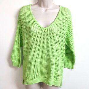 🆕 Jeanne Pierre lime green crochet knit sweater